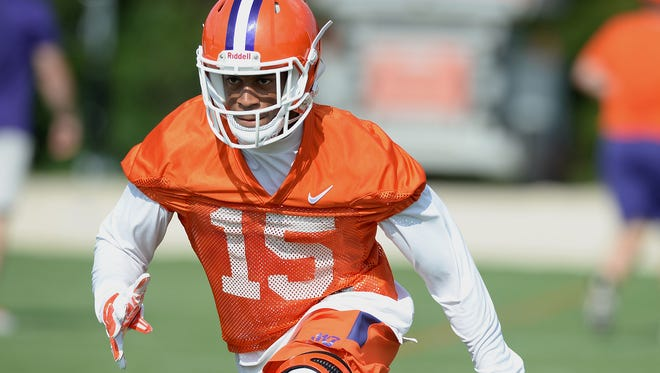 Clemson safety Korrin Wiggins (15) participates in practice on August 3, 2016. Wiggins has decided to transfer from Clemson and play his final season of college football at another school.