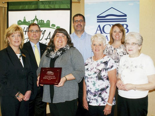 Best Place to Work: The Gettysburg Heritage Center was named the 2015 Best Small Place to Work in Adams County by the Gettysburg Adams Chamber of Commerce recently as part of Business Development Week and National Small Business Week. From left, are ACNB Bank Vice President and Senior Commercial Loan Officer George Marguglio, ACNB Bank Vice President and Treasury Management Manager Cheryl McVay, Gettysburg Heritage Center employees Stephanie Lightner, Ryan Howe, Marcia Rogari and Nancy Gilbert, and Gettysburg Adams Chamber of Commerce President Carrie Stuart.
