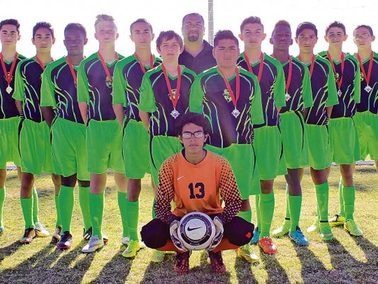 Pictured left-to right are Adam Foltz, Jonathan Mendez, Malcolm Moore, Max Reichert, Keith Wilder, Lucas Burch, George Sandoval, Jr, Barbosa, Antonio Silva, Shamar Moore, Gabriel Gonzales, Diego, Izeboud, Jonnie Lucero, and coach Rudy Barbosa.  Not pictured is Julian Torres. Hot Shots next travel to El Paso to compete in the Sun Bowl Invitational on June 5-7.