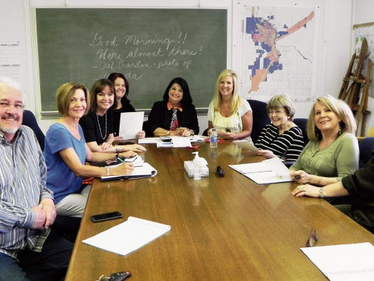 Members of the Mayor's Fine Art Acquisition and Vetting Committee met recently to finalize the plans for the Halagueno Arts Park complex gala celebration that was held July 2: Dave Morgan, from left, Carla Dungan, Wren Prather-Stroud, Mary Garwood, Julia Heaton, Karla Hamel, Gerri Mattson, Linda Pruit and Patsy Jackson-Christopher.