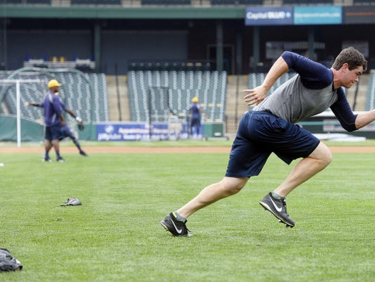York Revolution pitcher Matt Neil works out by sprinting before the Revs play Sugar Land.