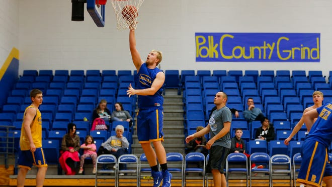 Bolivar's Brandon Emmert practices on March 14, 2017 before the Liberators played for the state championship in Columbia.