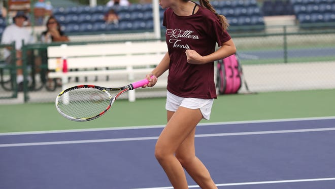 Tatiana Harvey of Rancho Mirage celebrates a point win during her win in the De Anza League champioinships number one singles match against Katie Brattain of Yucca Valley , October 27, 2016.