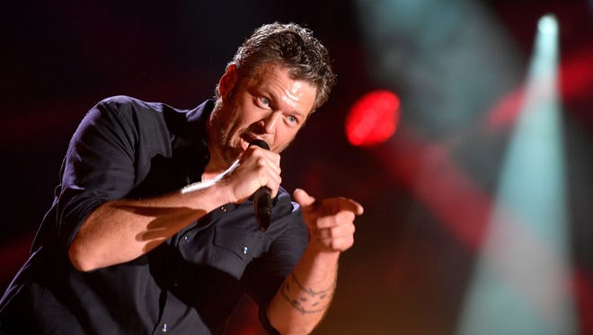 Blake Shelton connects with the crowd at Nissan Stadium during his performance at CMA Music Festival on June 9, 2017, in Nashville.
