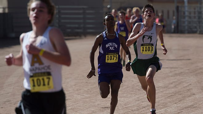 Fossil Ridge High School runner Dylan Ko closes in on the finish line during the CHSAA Cross Country Championship at Norris-Penrose Events Center in Colorado Springs Saturday, October 29, 2016.