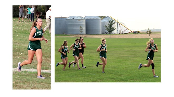 (Left) In her first race since an early season injury, Lizzie Schwint was the second Knights runner over the finish line at Eagles Park on Sept. 25. (Right) Pushing each other, this group of Knights ran together in the first lap at Eagles Park, from left: Annika Nosbusch, Kayla Schroepfer, M/T/GHEC runner, Elle Kyllonen, and Ellen Windschitl.
