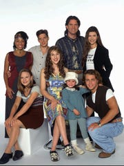 The stars of 'Blosom,' (front row, left to right) Jenna von Oÿ, Mayim Bialik, Courtney Chase, Joey Lawrence, (back row, left to right) Samaria Graham, Michael Stoyanov, Ted Wass, and Finola Hughes provided great fashion moments.