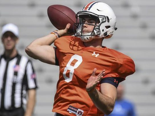 Jarrett Stidham shown during Auburn's practice is the