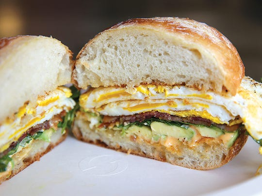 The signature breakfast sandwich at Hart's Local Grocers.