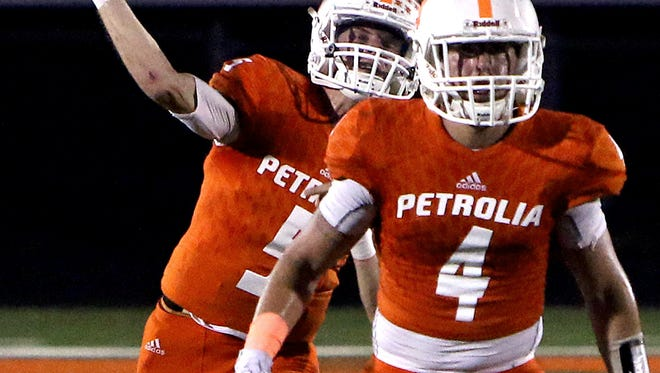 Patrick Johnston/Times Record News Petrolia quarterback Dane Williams and the Pirates celebrated the school's first playoff appearance in seven years Friday night.
