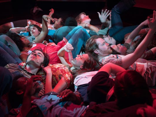 """City Theatre Company's """"Hair"""" is performed in a minimalist on a tie-dyed, scaffolded set."""