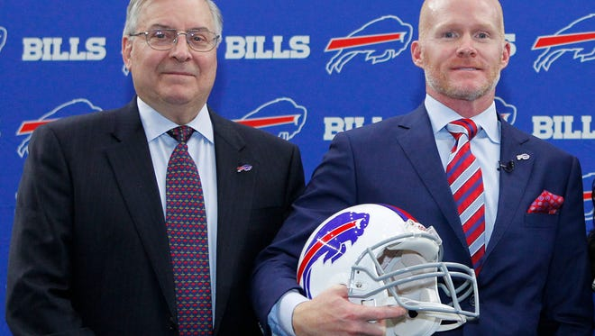 Bills owner Terry Pegula with new coach Sean McDermott.