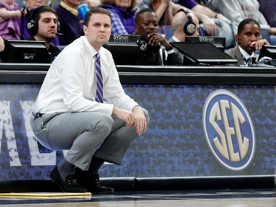 LSU head coach Will Wade is seen on the sidelines during the first half in an NCAA college basketball game against the Mississippi State at the Southeastern Conference tournament Thursday, March 8, 2018, in St. Louis. (AP Photo/Jeff Roberson)