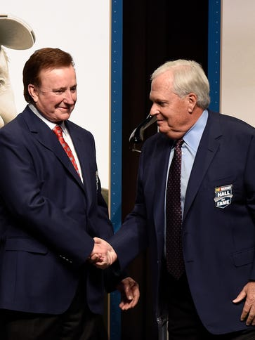 NASCAR team owners Richard Childress, left, and Rick