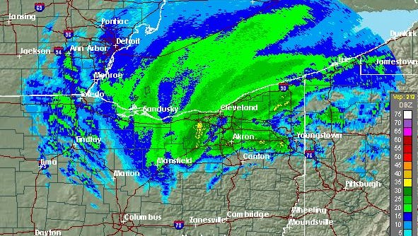 Screenshot from the National Weather Service radar