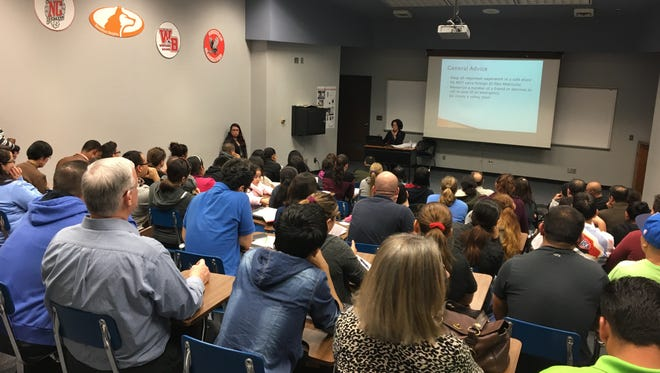 More than 50 people attended the Know Your Rights seminar at the J. Everett Light Career Center on Feb. 22, 2017. The event was a collaboration between the Immigrant Welcome Center, the Neighborhood Christian Law Clinic and the MSD of Washington Township and outlined basic rights afforded to immigrants regardless of documentation.