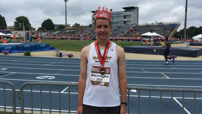 All-American Brian Baccaglini of Nanuet after his second-place finish in the boys racewalk at New Balance Nationals
