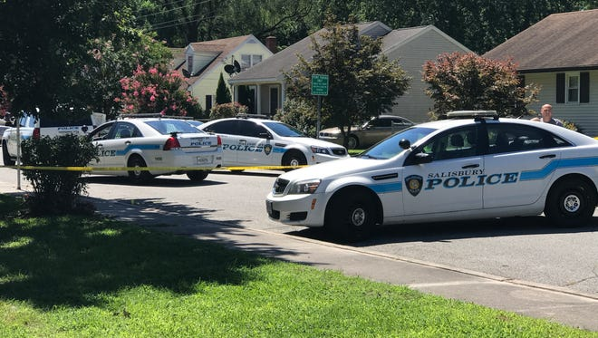 Police investigate a death ruled a homicide on Bethel Street in Salisbury on Sunday.