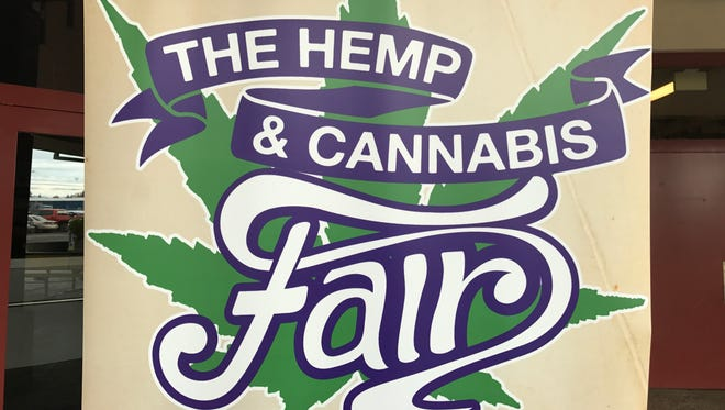 A sign outside of The Hemp and Cannabis Fair at the Oregon State Fair Grounds and Exposition Center on Saturday, Nov. 4.