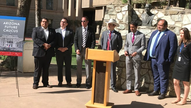 Members of the Arizona Legislature's millennial caucus held a press conference on April 18, 2018.