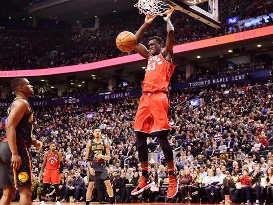 Toronto Raptors forward Pascal Siakam (43) dunks against the Atlanta Hawks during the second half of an NBA basketball game Tuesday, March 6, 2018, in Toronto. (Frank Gunn/The Canadian Press via AP)