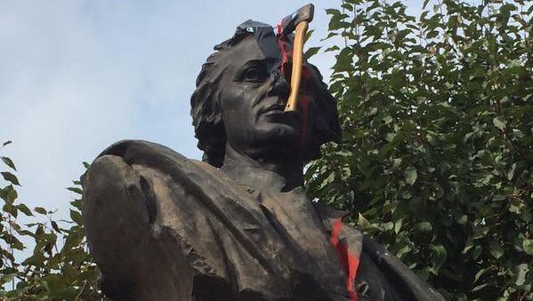 Vandals strike Christopher Columbus statue in Detroit