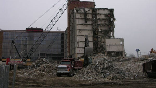 Demolition underway on the Executive Inn