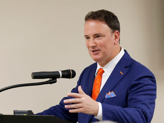 FC Cincinnati President and General Manager Jeff Berding states his case for public funding to build a new stadium for the soccer team during a County Commissioners meeting at the Hamilton County Board of Elections in Norwood, Ohio, on Tuesday, Sept. 26, 2017. The Commissioners met to discuss the future of projects in the county, including a new soccer stadium, rebuild of US Bank Arena and repairs to the Western Hills Viaduct.