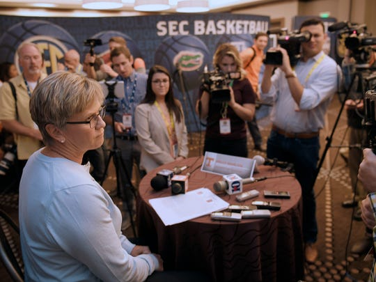 Tennessee coach Holly Warlick talks to the media during the 2017-18 SEC Women's Basketball Media Day at the Omni Hotel in Nashville on Thursday, Oct. 19, 2017.