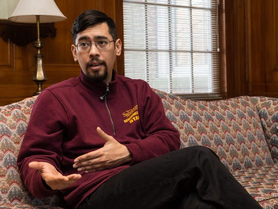 Salisbury University graduate student David Garcia talks about graduate assistant tuition waivers at Holloway Hall.
