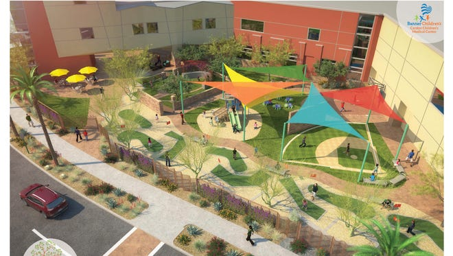 A rendering of the proposed Big Outside project by the Banner Health Foundation. It aims to turn a currently empty lot adjacent to the Cardon Children's Medical Center in Mesa into a respite for relaxation and play. The project will include a nine-hole mini-golf course, playground, healing garden and more.
