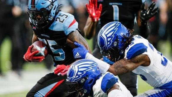 D'Montre Wade (35) closes in on a tackle during the St. Louis BattleHawks' Feb. 9 XFL opener against Dallas. The Columbia resident was on the Renegades' roster, after being released by St. Louis, when the XFL stopped play last month because of the coronavirus pandemic. League officials announced Friday that operations have been suspended.