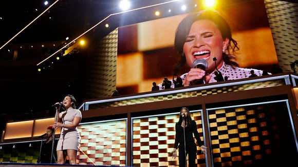 Demi Lovato performs on the first day of the Democratic