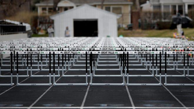 Hurdles set up on the track at Memorial Stadium.