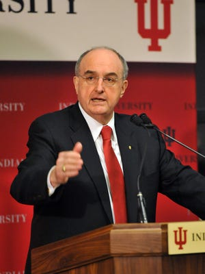 Indiana University President Michael McRobbie addresses guests, alumni and the board of trustees at IU East.