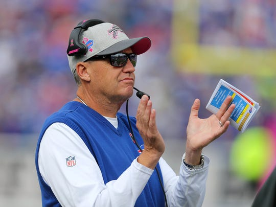Bills head coach Rex Ryan wasn't smiling long against the Giants.