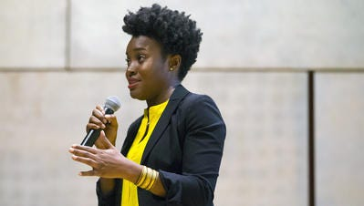 """""""I wanted to create a space that would give people … a chance to hear other sides of the black story, beyond the protests and the violence that have dominated media coverage,"""" says Phoenix resident Rachel Egboro, who for four years has co-produced live-storytelling series the Storyline."""