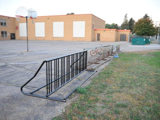 A new bicycle rack joins older racks at Meade Elementary School, Wisconsin Rapids.