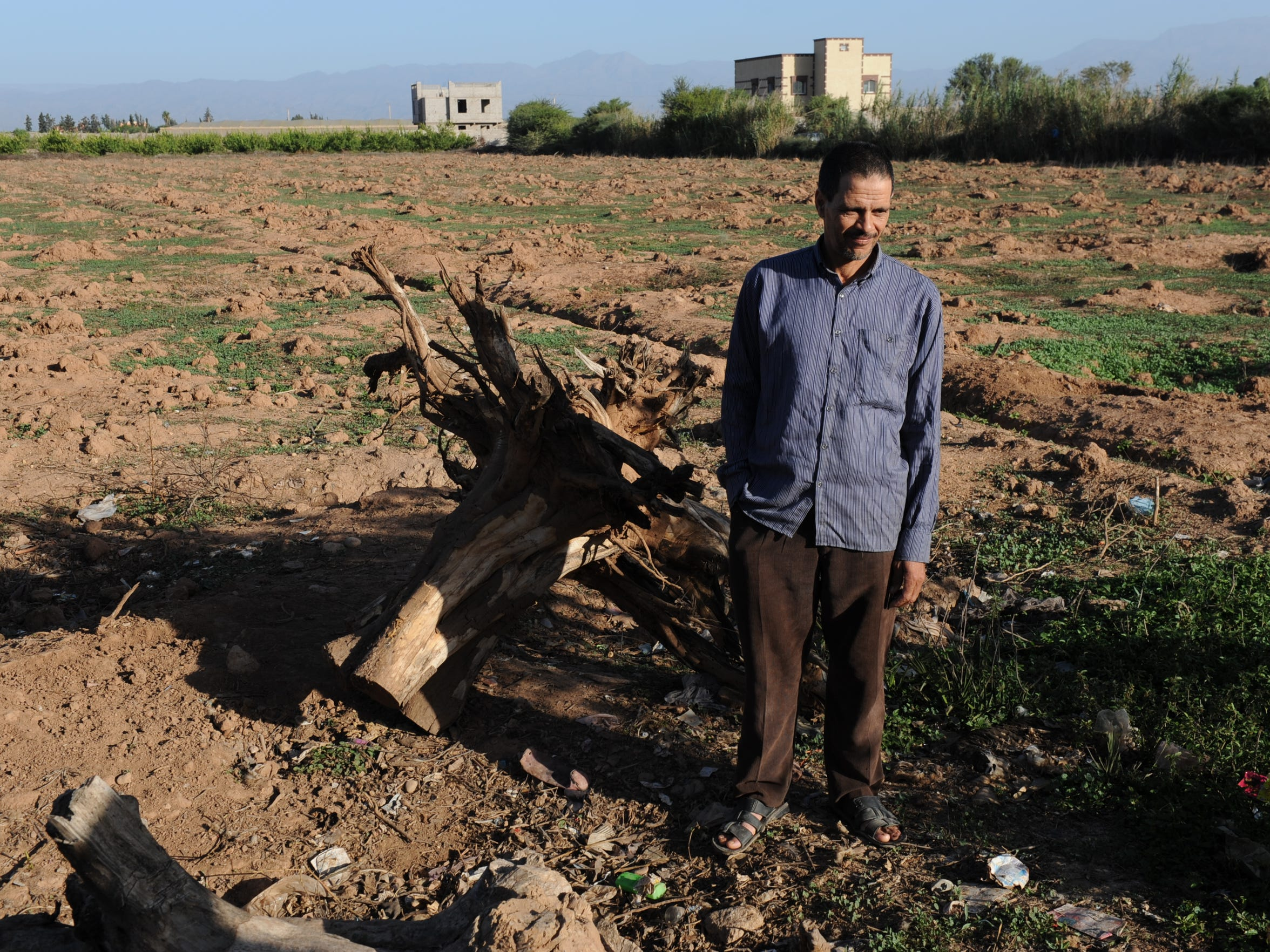 Mbarek Belkadi stands next to the stump of an orange tree on his family''s farm in Sebt El Guerdane. He said earning a living has been difficult the past several years since their well went dry and the family uprooted their trees.