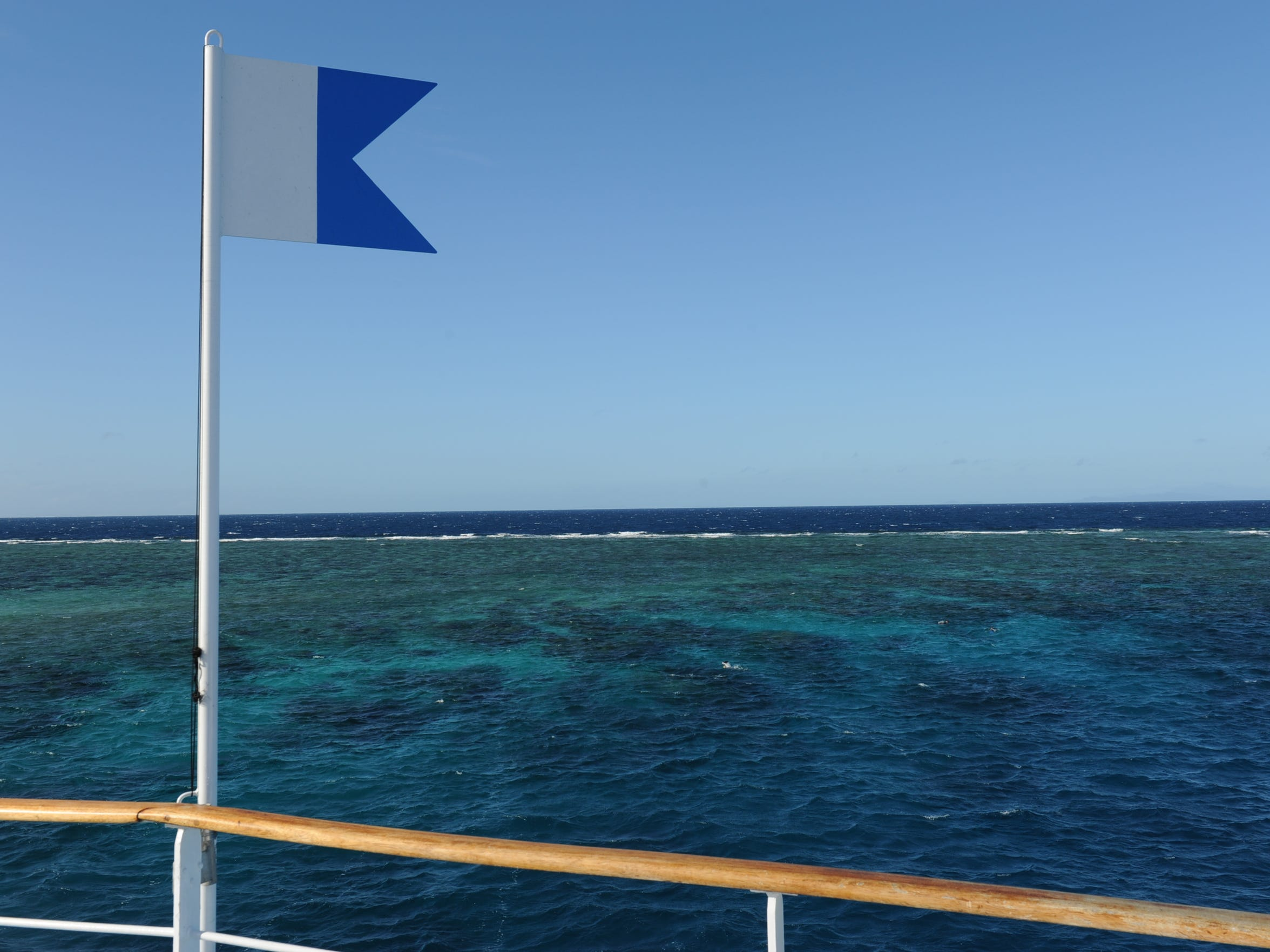 A view of the Great Barrier Reef from the deck of a
