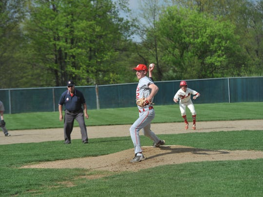 Buckeye Central's Josh Dentinger pitches against Plymouth.