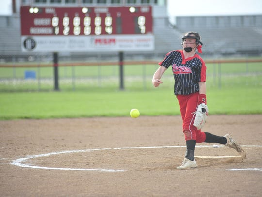 Freshman pitcher Caleigh Rister throws a pitch in the