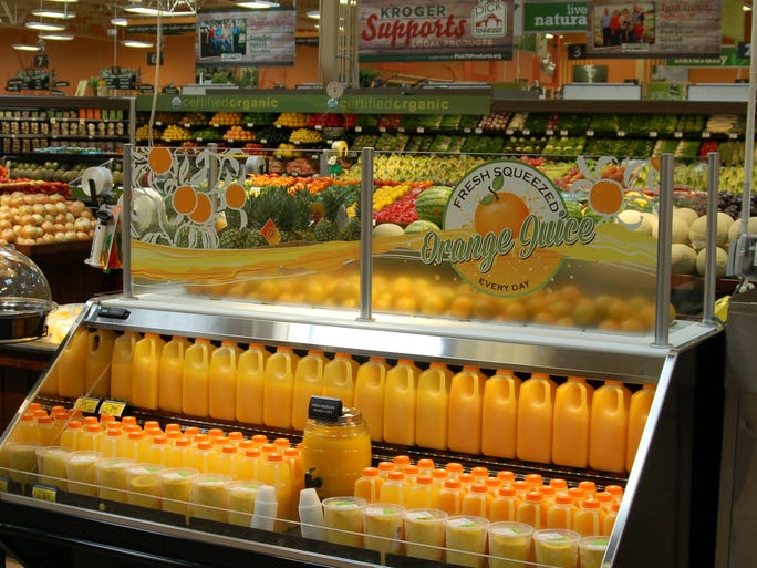 The new Kroger offers fresh-squeezed orange juice by the cup.