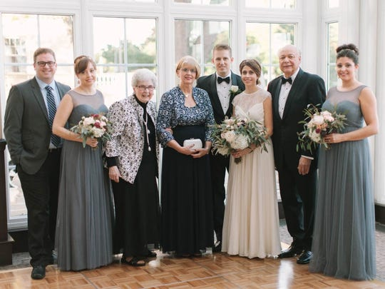 Cathy McNett and her family at her daughter's wedding.