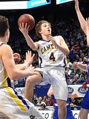 "Campbell County's Andrew Wilson finds paydirt at the KHSAA Basktball Tournament ""Elite Eight"", Lexington, KY, March 16, 2018."