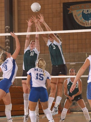 UW-Green Bay's Leslie Kuhn (10) and Jessie Theys (3) block a kill attempt against Morehead State at the Phoenix Sports Center in 2001.