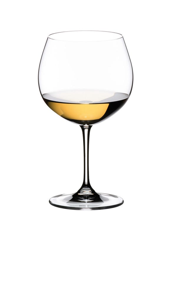 Vinum Oaked Chardonnay in a Riedel wine glass.