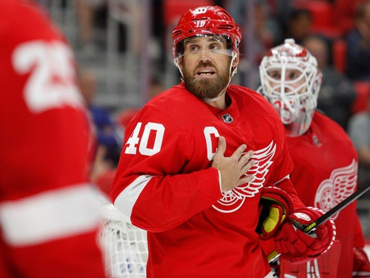 Red Wings left wing Henrik Zetterberg (40) reacts during