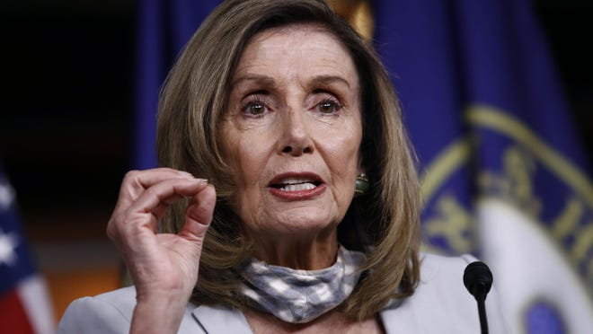 House Speaker Nancy Pelosi of Calif., speaks during a news conference on Capitol Hill in Washington, Thursday, Aug. 13, 2020.
