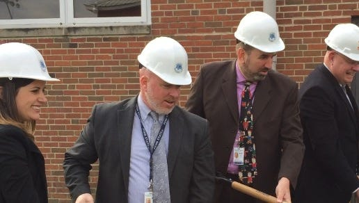 In this March 3, 2017 photo, education officials break ground at Crisfield Academy and High School for a renovation that adds five classrooms and other spaces for the Crisfield Head Start early learning program. From left are Somerset public education officials Daniele Haley, Tom Davis, Superintendent John Gaddis and Somerset County Commissioner Warner Sumpter.